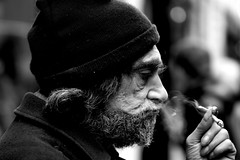 The journey of life (shootforu.com) Tags: portrait england bw man streets male london hat canon beard alone box cigarette empty smoke homeless puff beggar desperate despair lonely shelter outcast disheveled exhale inhale facefacial mygearandme