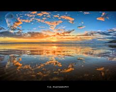 Moroccan Sunset (iPh4n70M) Tags: blue sunset sea sky sun mer reflection beach clouds photography soleil photo sand nikon photographer photographie coucher sable agadir fisheye bleu reflet ciel morocco photograph maroc tc nikkor nuages 16mm plage hdr photographe 9xp d700 9raw tcphotography ph4n70m iph4n70m tcphotographie