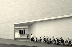 Go there! (Bernhardt Franz) Tags: go there wall lwl münster museum bicycles fun people street suggestion empfehlung befehl order command building comical humor