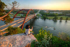 Overlooking the Pennybacker Bridge (ap0013) Tags: austin texas austintexas austintx tex pennybacker bridge pennybackerbridge coloradoriver austinbridge texasbridge evening sunset selfie