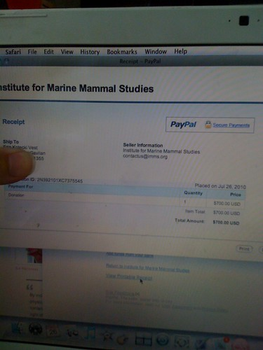 $700 donation to the Institute for Marine Mammal Studies