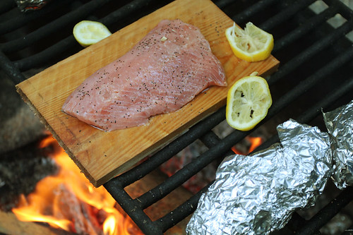 Cooking Salmon on Cedar