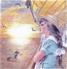Bon voyage (Ken Mat) Tags: voyage woman girl illustration pencil ship drawing dolphin strawhat morningglow seamew
