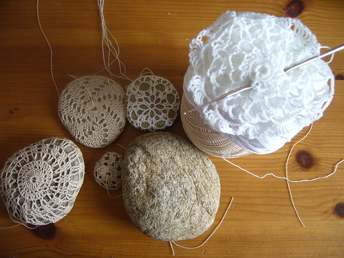wip - crochet covered stones.
