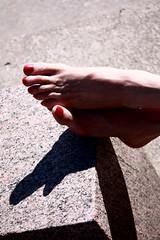 Nothing else matters. (Beautiful_Looser) Tags: shadow red feet stone pie persona foot grey gris rojo toes camino skin nail sombra dedos roca piedra piel ua tobillo