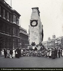 People and Flowers at the Cenotaph (c1920) (Bishopsgate Institute) Tags: warmemorials londonuk cenotaphs thecenotaph bishopsgateinstitute londonandmiddlesexarchaeologicalsociety
