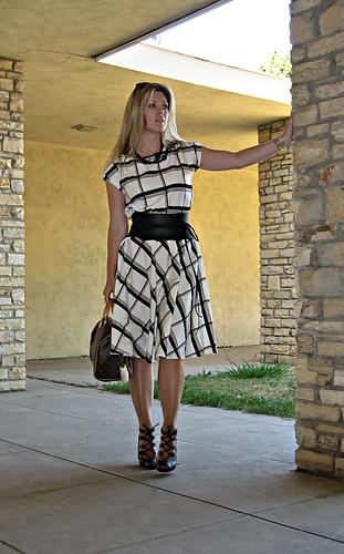 fashion outfit cardigan daydress louisvuittonspeedy laceupheels boutique9shoes wideleatherwrapobibeltwithrawedges vintageladydaydress plaiddaydress
