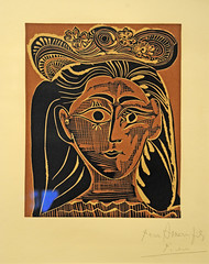 Picasso at The Metropolitan Museum of Art. Jacqueline in a Flowery Straw Hat, 1962, Linoleum cut (renzodionigi) Tags: nyc newyork painting contemporaryart modernart modernism moma picasso metropolitanmuseum arthistory cubism pittura