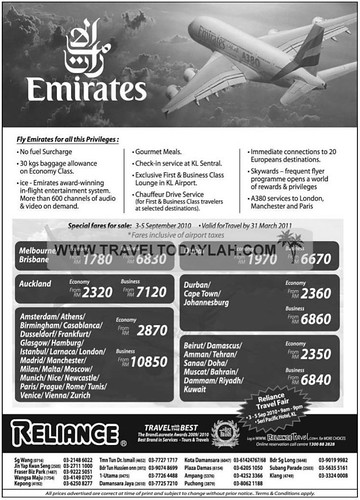 Emirates Special Air Fares by Reliance to Australia, New Zealand, Europe, Middle East, Africa