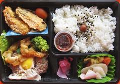 Salmon Croquet Bento (Harris Graber) Tags: food rice bento japanesefood onionrings s90 japanesecuisine familymarket canons90 salmoncroquet