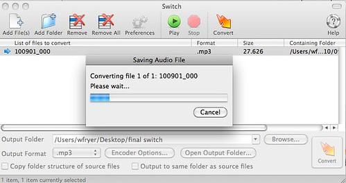 Converting audio file with Switch
