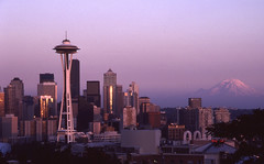 Day 201/365 - Seattle At Sunset (Great Beyond) Tags: seattle sunset mountain slr film skyline analog 35mm canon buildings project eos golden washington downtown image kodak queenanne july slide arches ishootfilm slidefilm 35mmfilm hour mountrainier k2 spaceneedle kerrypark kodachrome kr 365 eastman slides 3000v keyarena seattlecenter goldenhour 2010 kodachrome64 queenannehill downtownseattle pacificsciencecenter k14 queenann latent centerhouse eastmankodak seattlewashington project365 canoneosrebelk2 filmisnotdead canonrebelk2 kr64 iso64 queenannhill kodakkodachrome64 latentimage july2010 tamronaf28200mm tamron28200mmf3856ldasphericalifsuper