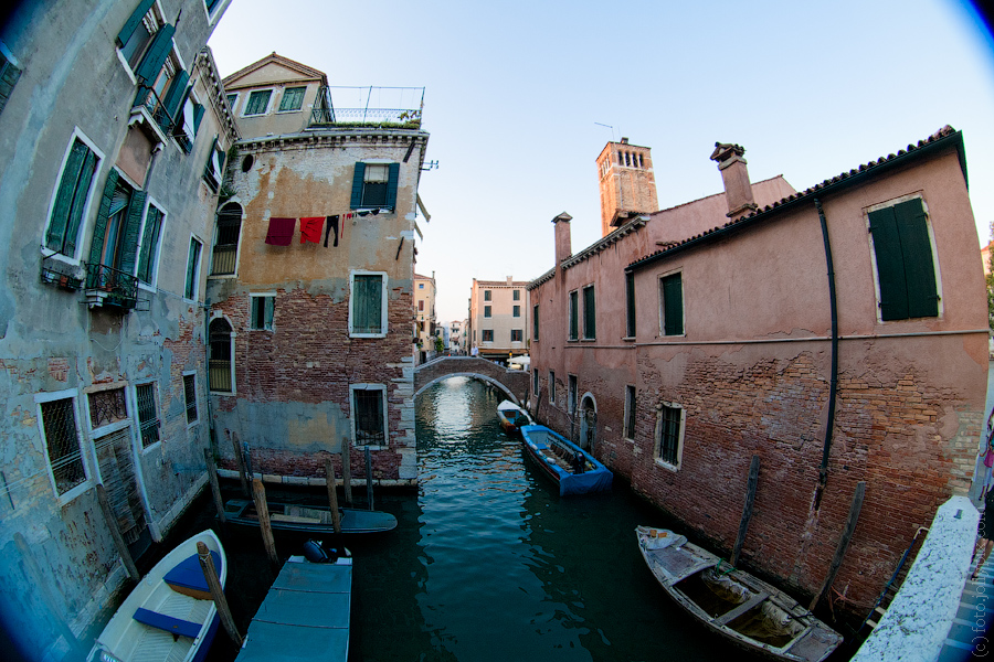 A canal and houses in Venice