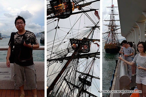 Waiting for the tall ship to dock for boarding