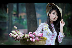Lotus - Ao dai Vietnam - [Frontpage Explore] (TA.D) Tags: travel pink flowers girls summer portrait people woman white art girl beautiful beauty face portraits nikon asia lotus bokeh smoke longhair vietnam explore tad lovely frontpage saigon hochiminhcity aodai explored chandung d700 aodaivietnam odivitnam stunningphotogpin