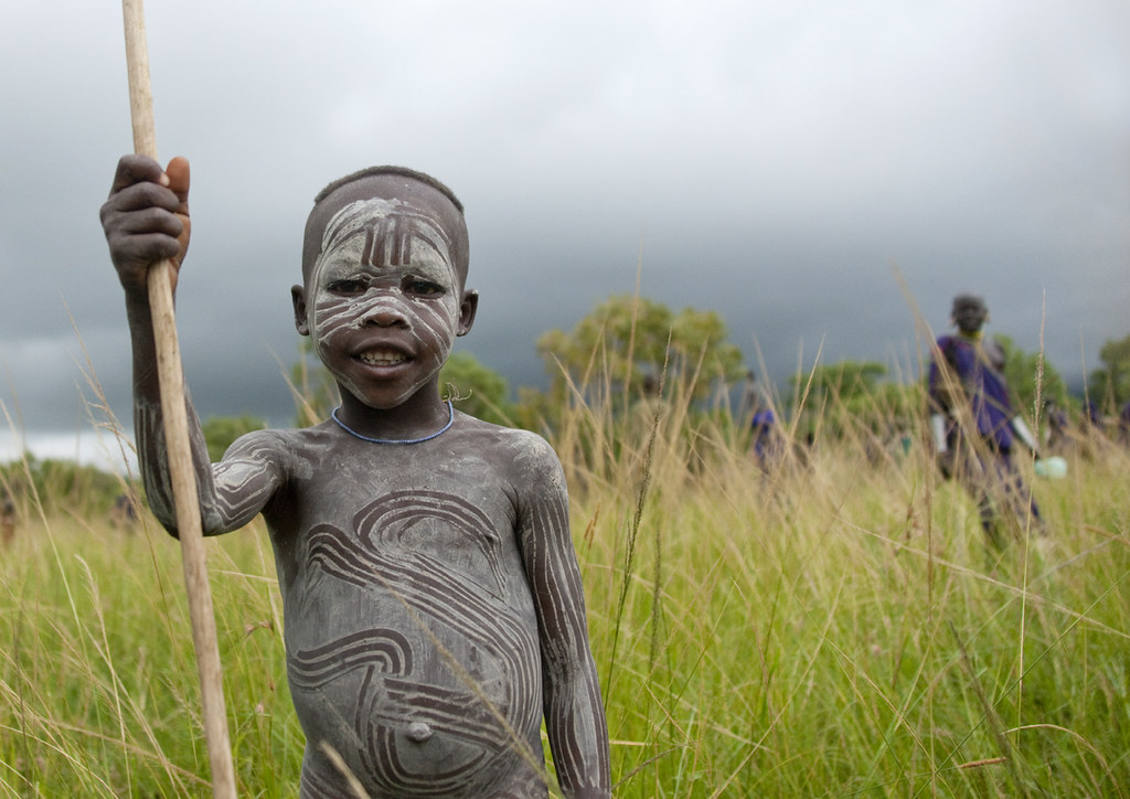 Surma kid in Donga stick fighting - Ethiopia
