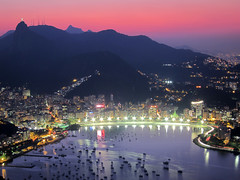 Sunset from Sugarloaf (AJ Brustein) Tags: sunset brazil rio night canon de aj bay twilight cityscape janeiro christ o jesus sugar cocacola loaf sugarloaf cristo botafogo po hdr redeemer redentor s90 acar brustein corcovada