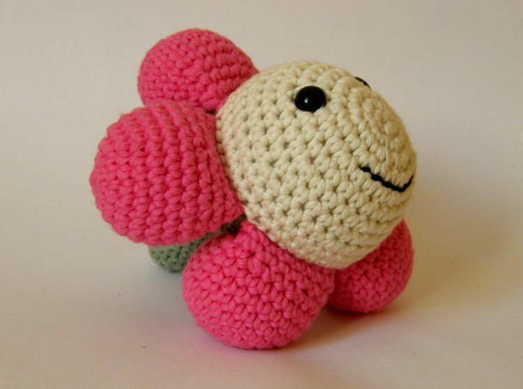 Pink flower baby toy