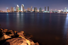 Looking Towards San Diego (Trent Bell) Tags: california city urban reflection skyline lights cityscape sandiego citylights coronado 2010 longecposure sandiegocityscape