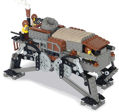 Medium Steam Quad-Walker Mk. LV (front) (aillery) Tags: electric walking war lego military great platform steam mortar walker motor machines motorized steampunk variant howitzer