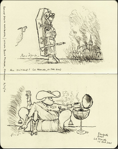 Exhibition sketchbook: two cartoons for Le Monde by Ronald Searle