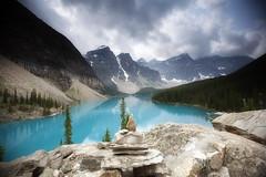 Moraine Lake (trentroche) Tags: park sky canada mountains nature national alberta cairn banffnationalpark morainelake