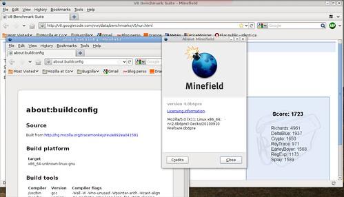 1723 points dans v8 avec Firefox le compilateur JIT activé