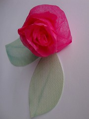 Tissue paper rose, watercolour leaf