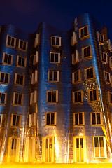 Gehry Buildings (Stefan Mazzola) Tags: street reflection rooftop church water skyline night germany boat downtown harbour dusseldorf rhine altstadt nighshot rheine konigsalle sowntown mediaharbour stlambertus standreas stmaximillian rhinetowerdusseldorf gehrybuidlings