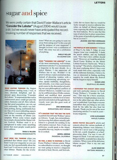 Gourmet Oct '04 Letters Re: Consider the Lobster (1 of 2)