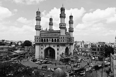 Nonwired view of the four minarets (Bindaas Madhavi) Tags: old city travel india heritage view wide visit charm historic 400 years visuals hyderabad charminar glimpses nizam deccan andhrapradesh paigah bindaas krishlikesit madhavikuram mkuram madhavikurambindaas