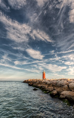 Faro San Nicol (nic1783) Tags: venice sunset faro mediterraneo tramonto mare venezia hdr lightouse scogli sigma1020 eos450d