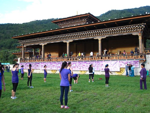 Taebo with Miss Bhutan contestants