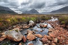 'One of the Glens', Scotland, Highlands, Glencoe (WanderingtheWorld (www.ChrisFord.com)) Tags: travel chris vacation mountains field clouds grey scotland photo blog moss highlands interesting rocks stream britain great dramatic rocky surreal landmark velvet glencoe sublime schoenbohm lostmanproject wwwlostmanprojectcom