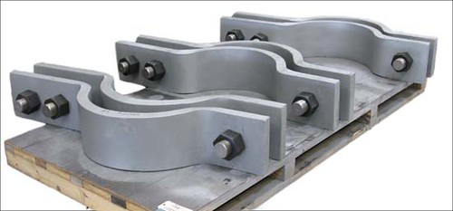 Custom Chrome-Moly Three-Bolt Pipe Clamps for a Power Plant