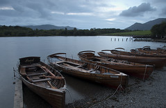 Boats at Derwent Water as Dusk Fells (jiannc) Tags: uk travel england lake nature landscape boat dusk derwent lakedistrict cumbria derwentwater keswick nikond300s