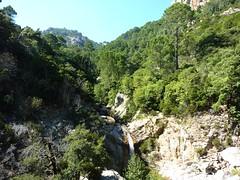 Entre la triple vasque-cascade et la confluence Calva : confluence avec ruisseau vers Quercitella (à D) et vue de la branche Finicione