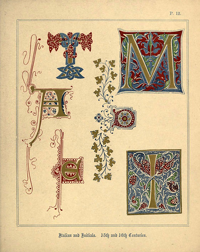 010 Letras italicas e iniciales siglos XV y XVI-A primer of the art of illumination for the use of beginners.. 1874-Freeman Delamotte
