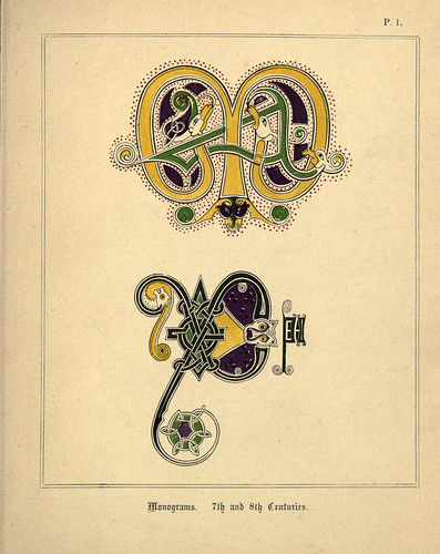 001-Monogramas siglos VII y VIII-A primer of the art of illumination for the use of beginners.. 1874-Freeman Delamotte