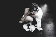 middle messes (Alexandra Moskow) Tags: wood portrait bw white selfportrait black girl monochrome self canon hair floor cotton