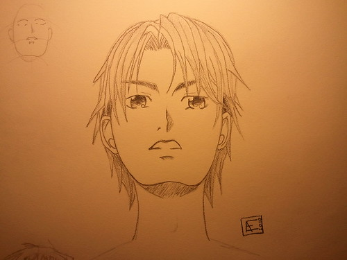 Manga Boy's Face (Up View) - Final Sketch
