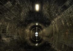 Tunnel vision (Ddeek) Tags: water stone reflections dark edinburgh flood threatening victorian railway tunnel filter trinity disused murky hdr