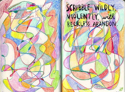 scribble wildly
