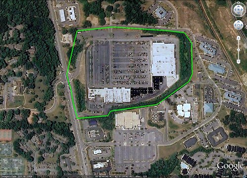 the footprint of a Walmart supercenter can be enormous (south of Asheville NC, via Google Earth)