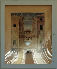 Bowing columns (Franco Coluzzi) Tags: reflection painting poster columns perspective courtyard ferrara manifesto palazzodeidiamanti colonne cortile prospettiva riflesso dipinto