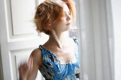Inside (Nicola Troccoli) Tags: red window hair movement finestra curtains movimento lidia tenda