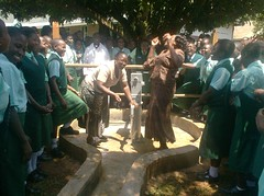 Jubilant Students,Teachers of Emalindi Girls Sec.School during hand over ceremony