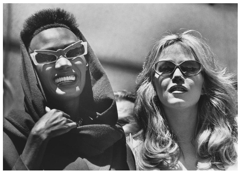 Grace Jones & Tanya Roberts on the set of A View to a Kill