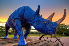 Pandorian Rhinoceros (Pheno Me Non) Tags: sunset sun art chattanooga statue photography nikon zoom tennessee avatar parks wideangle tokina rhino pandora 1224mm hdr rhinoceros tennesseeriver coolidgepark d90 danieltriplett