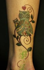 owl tattoo with baby owls (only you tattoo) Tags: atlanta folkart atl owl grantpark babyowl danielledistefano patternowl bestofatlanta onlyyoutattoo danielledistefanotattoo besttattoostudioatlanta